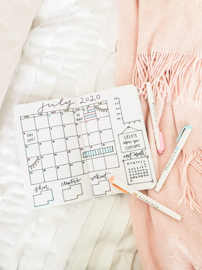 Monthly Bullet Journal Spread Idea - TheBellaInsider.com